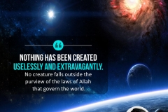 Nothing has been created uselessly and extravagantly. No creature falls outside the purview of the laws of Allah that govern the world.