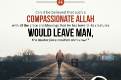 Can it be believed that such a compassionate Allah with all the grace and blessings that He has toward His creatures would leave man, the masterpiece creation on his own?