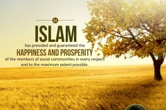 Islam has provided and guaranteed the happiness and prosperity of the members of social community in every respect and to the maximum extent possible.