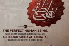 """The perfect human being, whether man or woman, is someone that, like Ali (A) and Fatima Al-Zahra (A), has reached that level of great justice."""