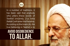 In a number of traditions, it has been said that anybody who utters these words of Tawhid sincerely, ['La ilaha illallah'] will enter the Paradise. According to the Imam (A), the sincere believing in Tawhid is to avoid disobedience to Allah.