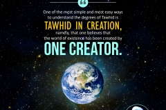 One of the most simple and most easy ways to understand the degrees of Tawhid is Tawhid in creation, namely, that one believes that the world of existence has been created by One Creator.