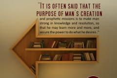It is often said that the purpose of man's creation and prophetic missions is to make man strong in knowledge and resolution, so that he may learn more and more, and secure the power to do what he desires .