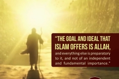The goal and ideal that Islam offers is ALLAH, and everything else is preparatory to it, and not of an independent and fundamental importance.