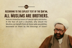 According to the explicit text of the Qur'an, all Muslims are brothers. And are related by means of special rights and duties. In the face of such a situation, why should the Muslims not benefit from all these wide possibilities bestowed on them by the blessings of Islam?