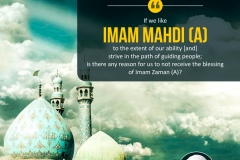 """If we, like Imam Mahdi (A), to the extent of our ability [and] strive in the path of guiding people; is there any reason for us not to receive the blessing of Imam Zaman (A)?"""