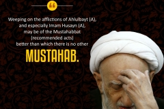 """Weeping on the afflictions of Ahlulbayt (A), and especially Imam Husayn (A), may be of the Mustahabbat (recommended acts) better than which there is no other mustahab."""
