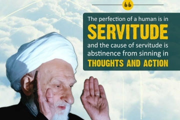 The perfection of a human is in servitude and the cause of servitude is abstinence from sinning in thoughts and action