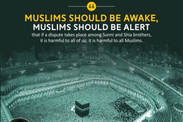 Muslims should be awake, Muslims should be alert that if a dispute takes place among Sunni and Shia brothers, it is harmful to all of us; it is harmful to all Muslims.