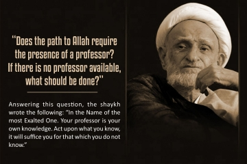 """Does the path to Allah require the presence of a professor? If there is no professor available, what should be done?"" Answering this question, the shaykh wrote the following: ""In the Name of the most Exalted One. Your professor is your own knowledge. Act upon what you know, it will suffice you for that which you do not know."""