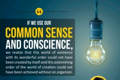 If we use our common sense and conscience, we realize that this world of existence with its wonderful order could not have been created by itself and this astonishing order of the world of creation could not have been achieved without an organizer.