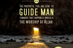 The prophets, too, are sent to guide man towards that happiness which is the worship of Allah.