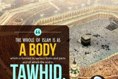 The whole of Islam is as a body which is formed by various limbs and parts and of which the soul is Tawhid.