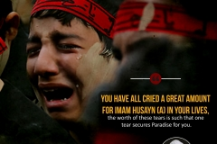 """""""You have all cried a great amount for Imam Husayn (A) in your lives, the worth of these tears is such that one tear secures Paradise for you."""""""