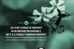 """""""Life is not a pursuit of prosperity or an endeavor for achieving it, but it is a struggle to maintain prosperity. We have already been granted prosperity when we were created, we should make efforts not to lose it."""""""
