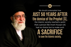 """We should contemplate how just 50 years after the demise of the Prophet (S) the islamic society reached a point that a person like Imam Husayn (A) had no choice but to make such a sacrifice to save the islamic society"""