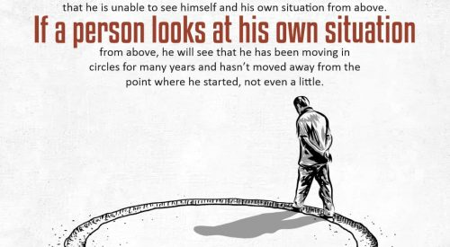 Person looks at his own Situation